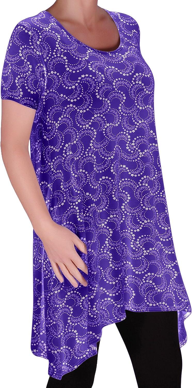 Faith Womens Long Tunic Flared Uneven Hem Print Ladies Short Sleeve Top Plus Sizes 14-28 Eyecatch