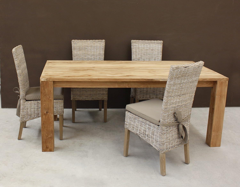 Tavolo da pranzo in VERO Teak NATURALE legno massello pregiatissimo ...