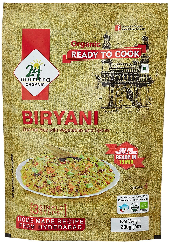 Organic Ready to Cook Biryani, 400 Gm (Pack of 2 X 200 Gm), Serves 8, Ready in 15 Min Briyani - 24 Mantra Organic