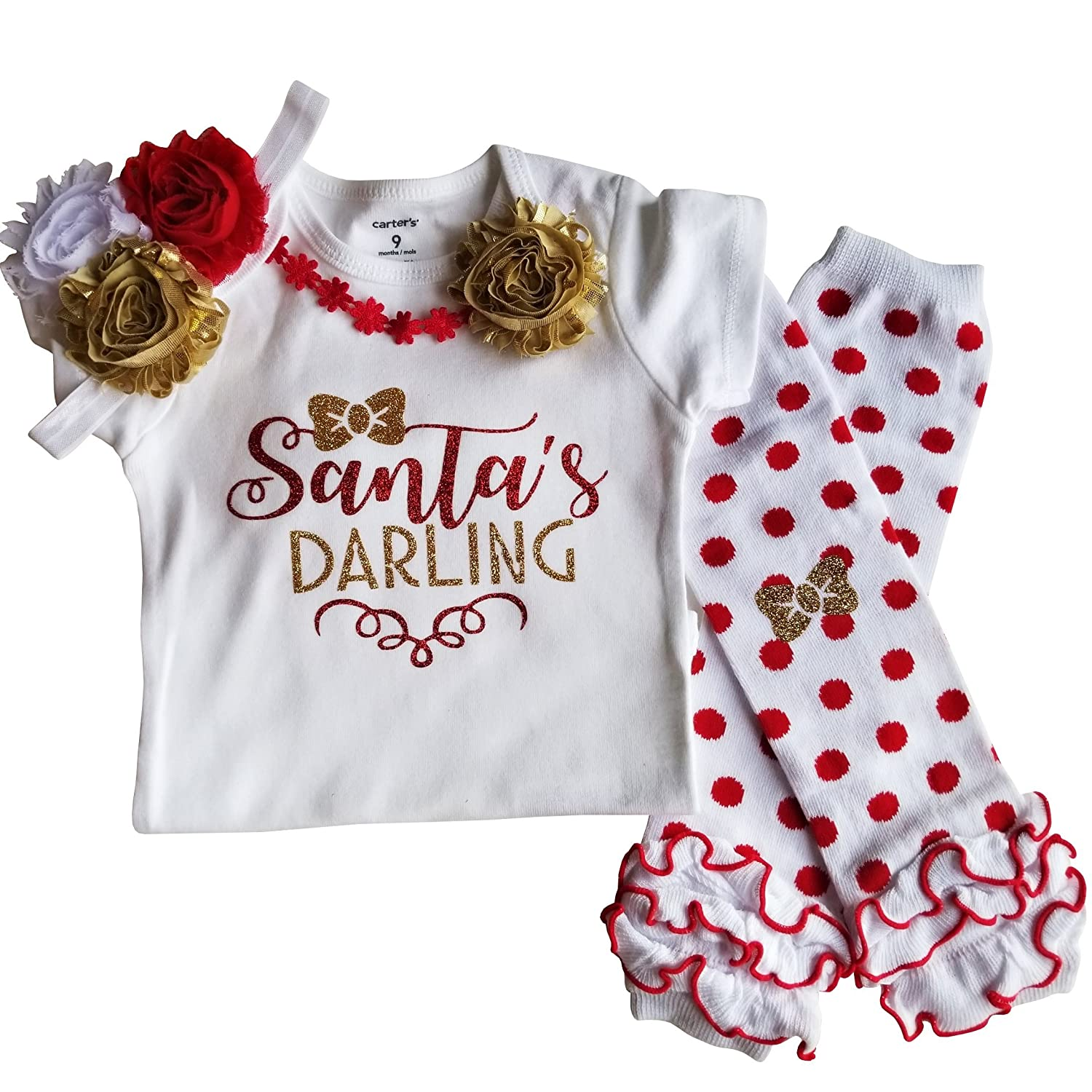 Christmas In Florida Outfits.Amazon Com Baby Girl Christmas Outfit Santa S Darling Clothing