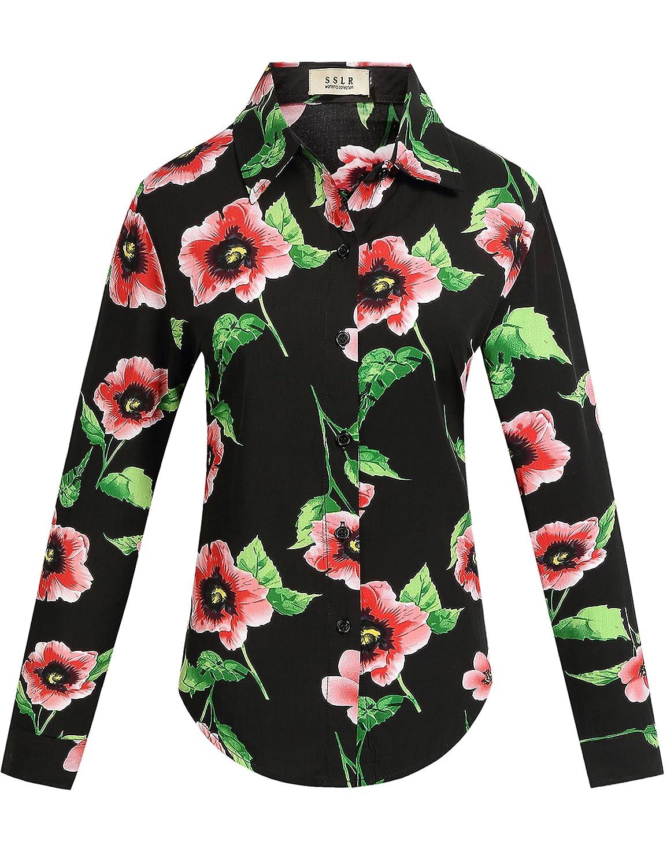 24d556cc8161 Top9  SSLR Women s Floral 50s Vintage Button Down Casual Long Sleeve Shirt