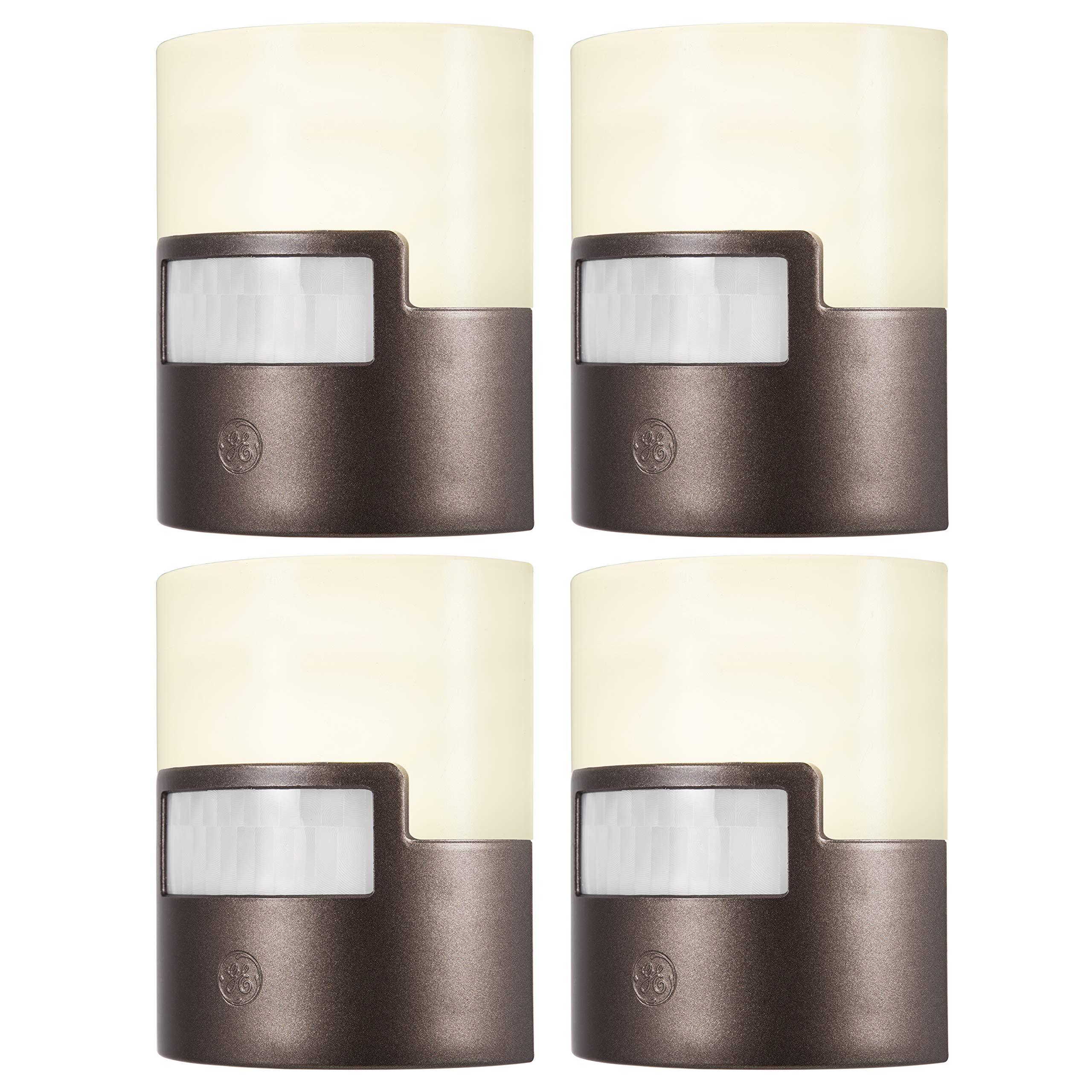 GE Ultra Brite Motion-Activated LED Light, 4-Pack, 40 Lumens Each, Soft White, Night Light, Energy Efficient, Ideal for Hallway, Entry, Stairs, Bathroom, Kitchen, Garage, for Kids, Bronze, 43667