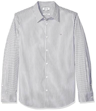 Calvin Klein Men's Stretch Cotton Button Up Shirt, Manhattan Black, Large