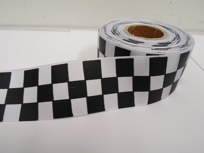 Nastro intrecciato in tessuto 2 m x 38 millimetri a scacchi motivo bandiera di gara colore: bianco/nero 38 mm 38mm Beautiful Ribbon
