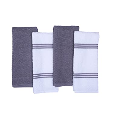 CASA DECORS Terry Kitchen Dish Towels Set of 4 (16 x 26 Inches), Light Gray, 100% Cotton, Highly Absorbent, Machine Washable