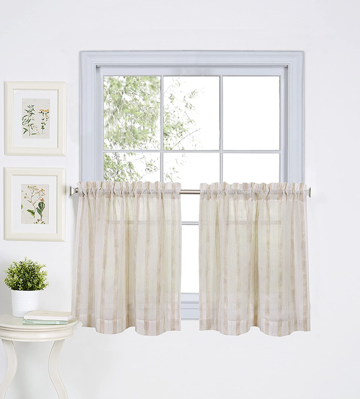 "Elrene Home Fashions 26865775242 Linen Stripe Rod Pocket Café/Kitchen Tier Window Curtain, Set of 2, 30"" x 36"""