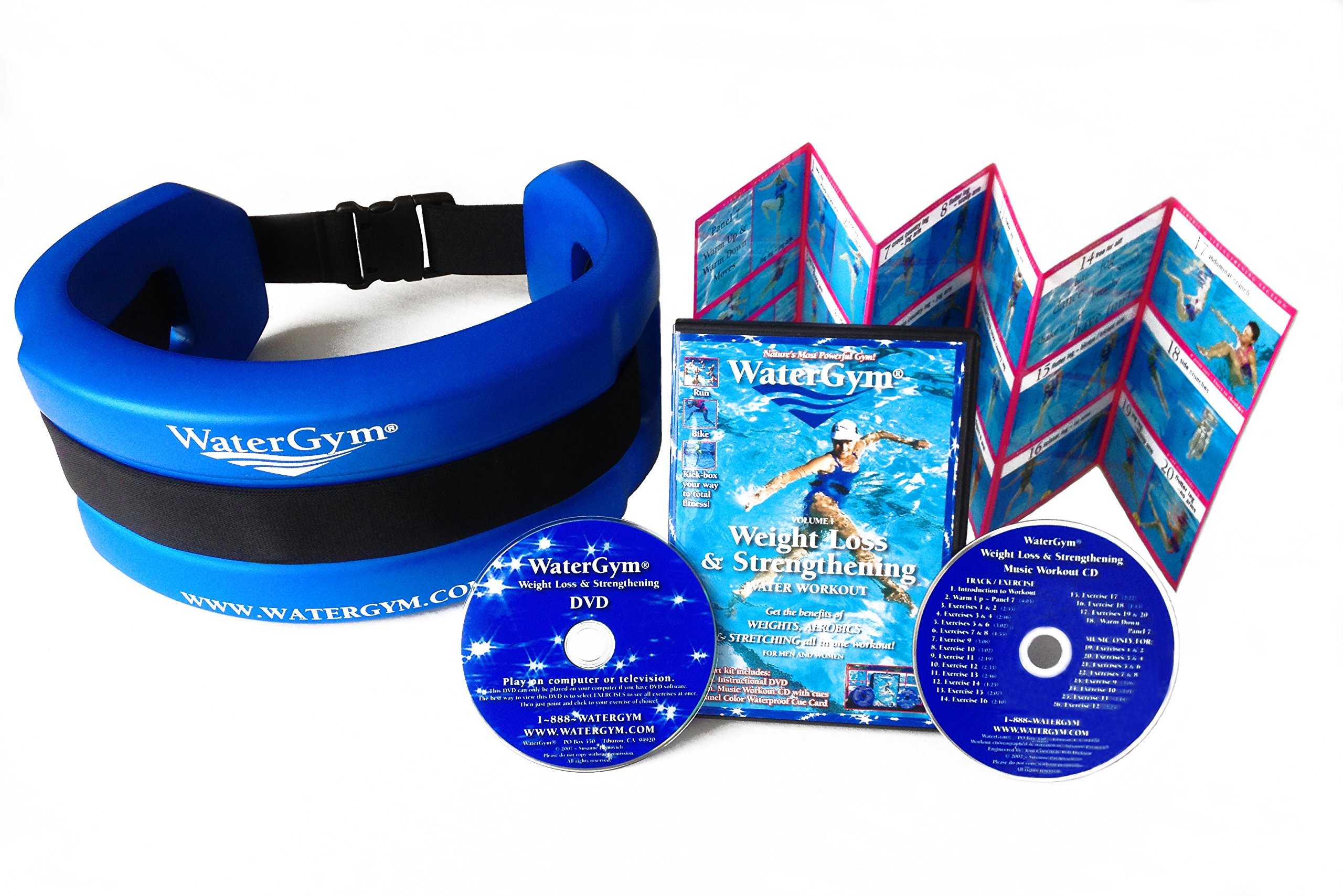 WaterGym Water Aerobics Float Belt for Aqua Jogging and Deep Water Exercise & Weight Loss DVD/Music CD/Cue Card- Size MED/LARGE-Blue