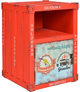 Ts Ideen Kommode Schrank Nachttisch Regal Schlafzimmer Container In Rot Industrie Design Shabby Metall Optik