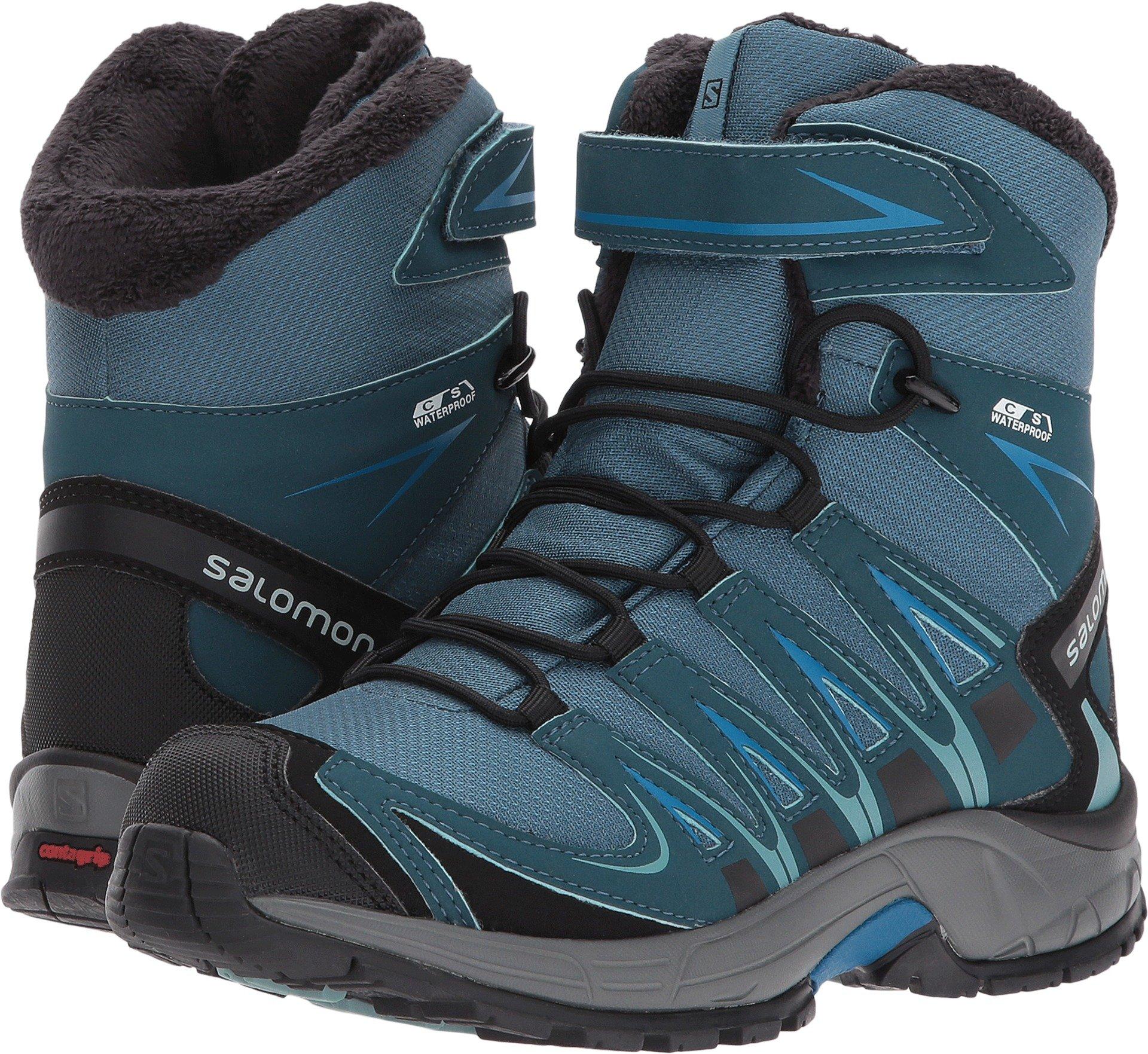 Salomon Kid's XA Pro 3D Winter TS CSWP Snow Boots, Blue, Textile, Faux Fur, Rubber, 5 Big Kid M by Salomon