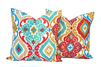 Amazon Two Indooroutdoor Ikat Print Pillow Covers Cushion Cool Red And Turquoise Decorative Pillows