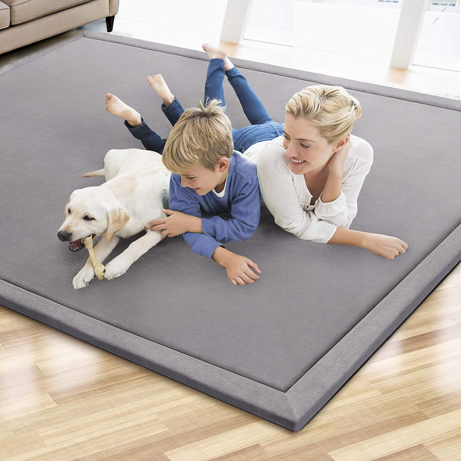 MICRODRY Cushioned Modern Memory Foam Area Rug with Built in Rug Pad – Easy Clean – Durable Stain & Fade Resistant Luxury Carpet – Home Decor Floor Covering – Living Room Mat (Grey, 6'x8')