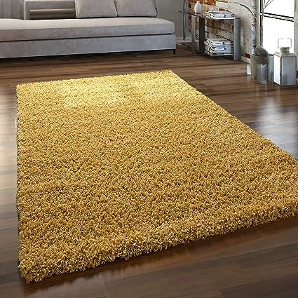 Gr/össe:140x200 cm Paco Home Hochflor Teppich Wohnzimmer Shaggy Langflor Modern Einfarbig Ohne Muster Farbe:Beige