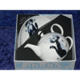 Cat tea for one set (BLUE) with saucer GIFT BOXED option fine bone china Cats and kittens T41 set (Gift boxed)