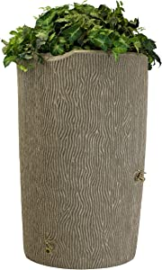 Good Ideas IMP-C90-SAN Impressions Tree Bark Rain Barrel, 90-Gallon, Sandstone