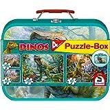 Schmidt Spiele Puzzle 56495 Dinosaurier, Puzzle-Box im Metallkoffer, 2x60 und 2x100 Teile Kinderpuzzle, bunt