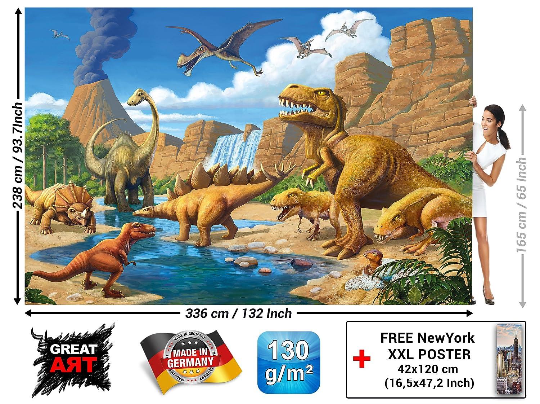 GREAT ART Foto Mural Mundo Dinosaurio para decorar Habitación infantil Aventura Jungla con Dinosaurios (336x238 cm): Amazon.es: Hogar