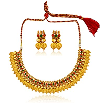 389939b05 Buy Amaal One Gram Long Rani Haram Gold Traditional Necklace Jewellery Sets  with Jhumki Earrings for Women/Girls -JSA058 Online at Low Prices in India  ...