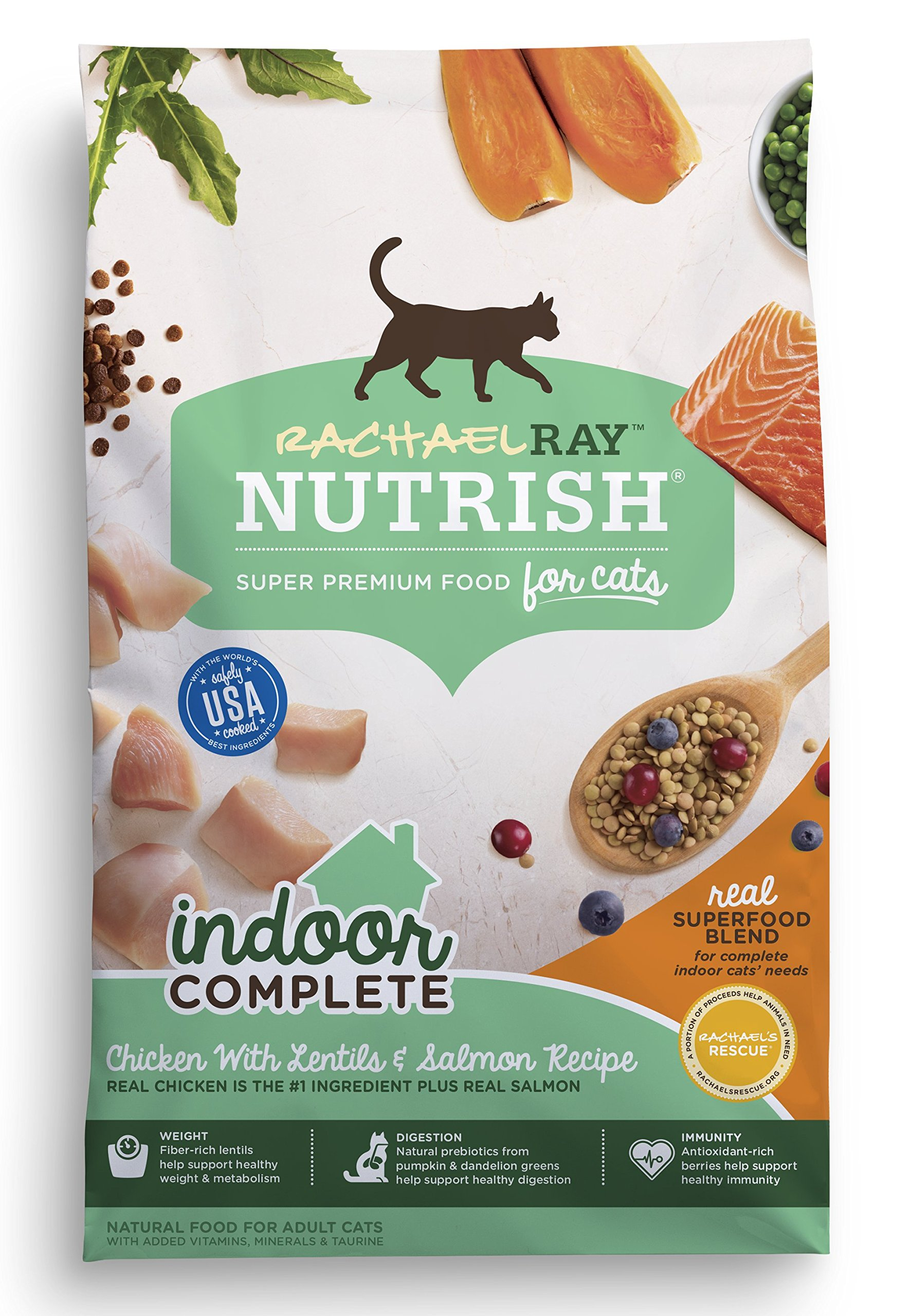 Rachael Ray Nutrish Indoor Complete Natural Dry Cat Food, Chicken with Lentils & Salmon, 14 lbs