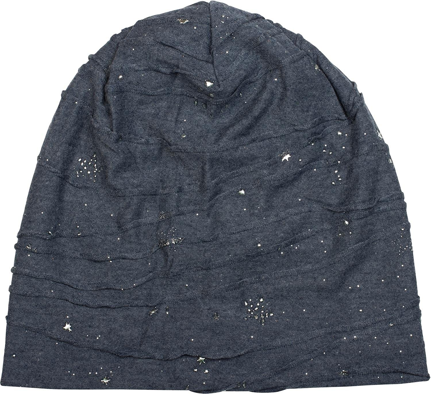 styleBREAKER Beanie with Metallic Splashes Stars and Sequins Unisex 04024136 Slouch Long Beanie