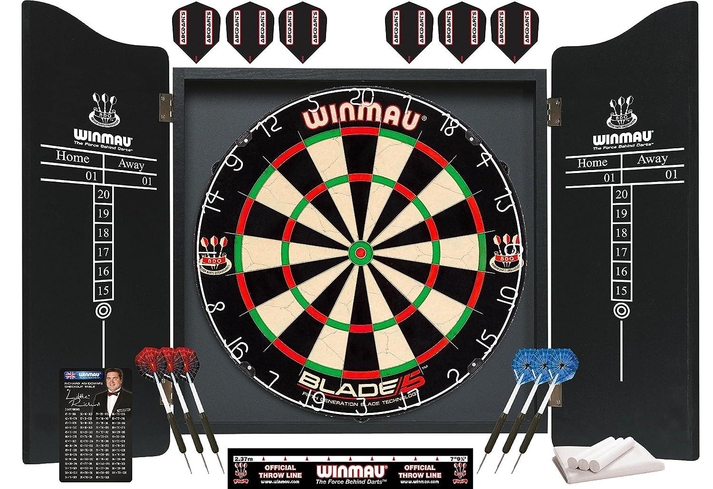 Blade 5 dartboard - Dartschrank PDS Kabinett - Schwarz mit dartboard und 2 satz dartpfeilen ABC Darts