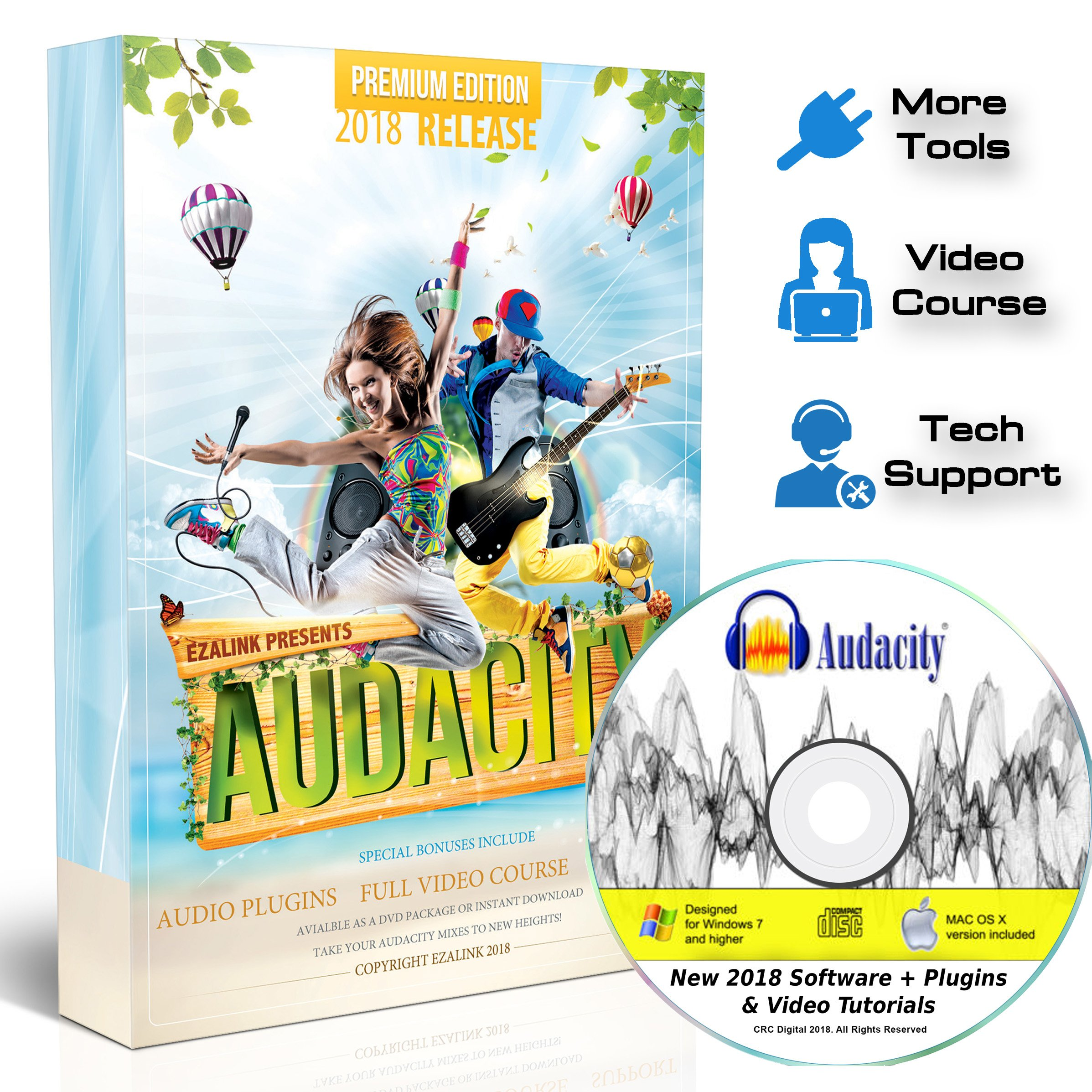 Audacity Audio Recording & Editing Software - Professional Sound Recorder Software for Windows PC & Mac - Digital Player for Common files: WAV, AIFF, MP3, OGG [Premium Edition] by Markt+Technik