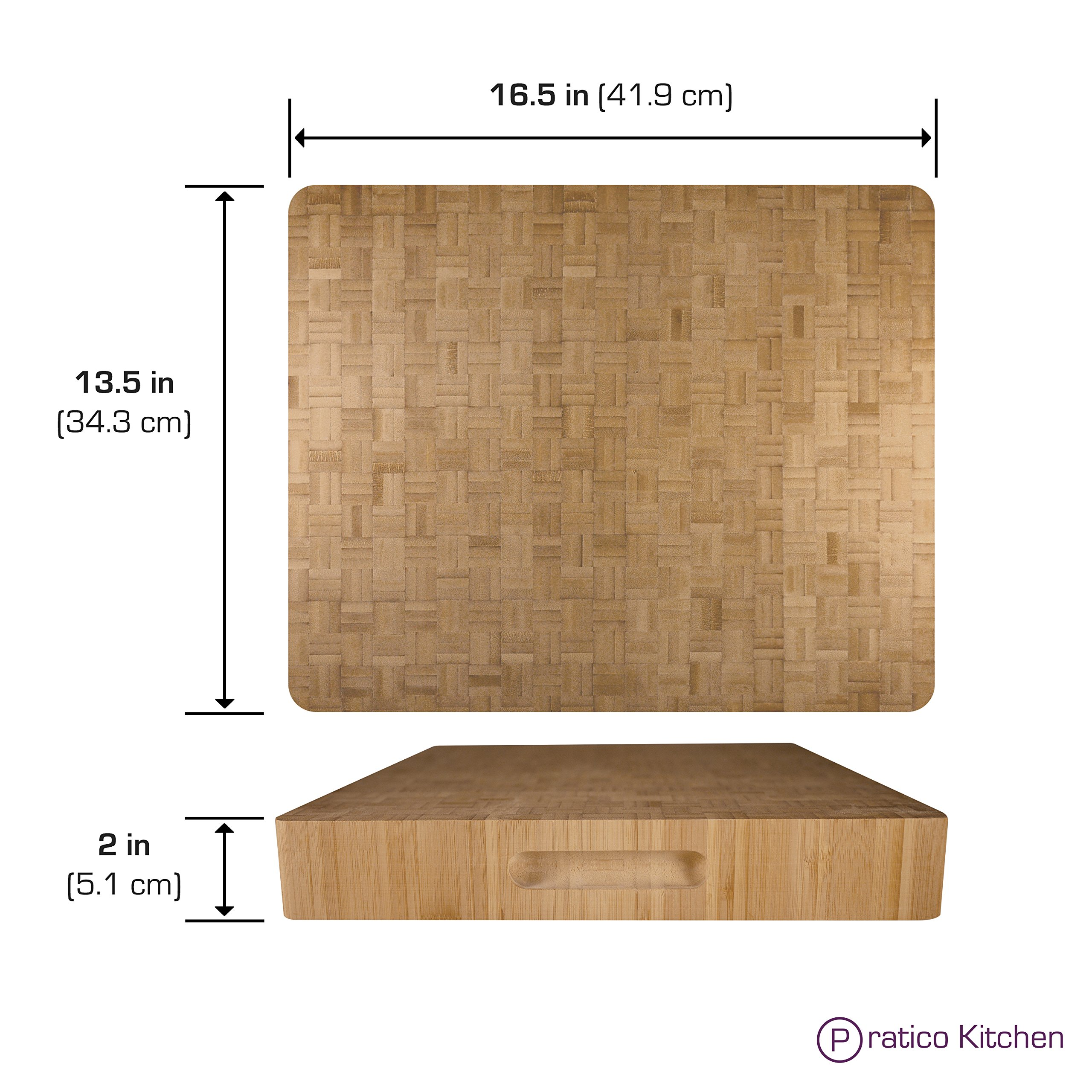 Pratico Kitchen Reversible Organic End Grain Butcher Chopping Block & Serving Tray - 16.5 x 13.5 x 2 inches by Pratico Kitchen (Image #2)