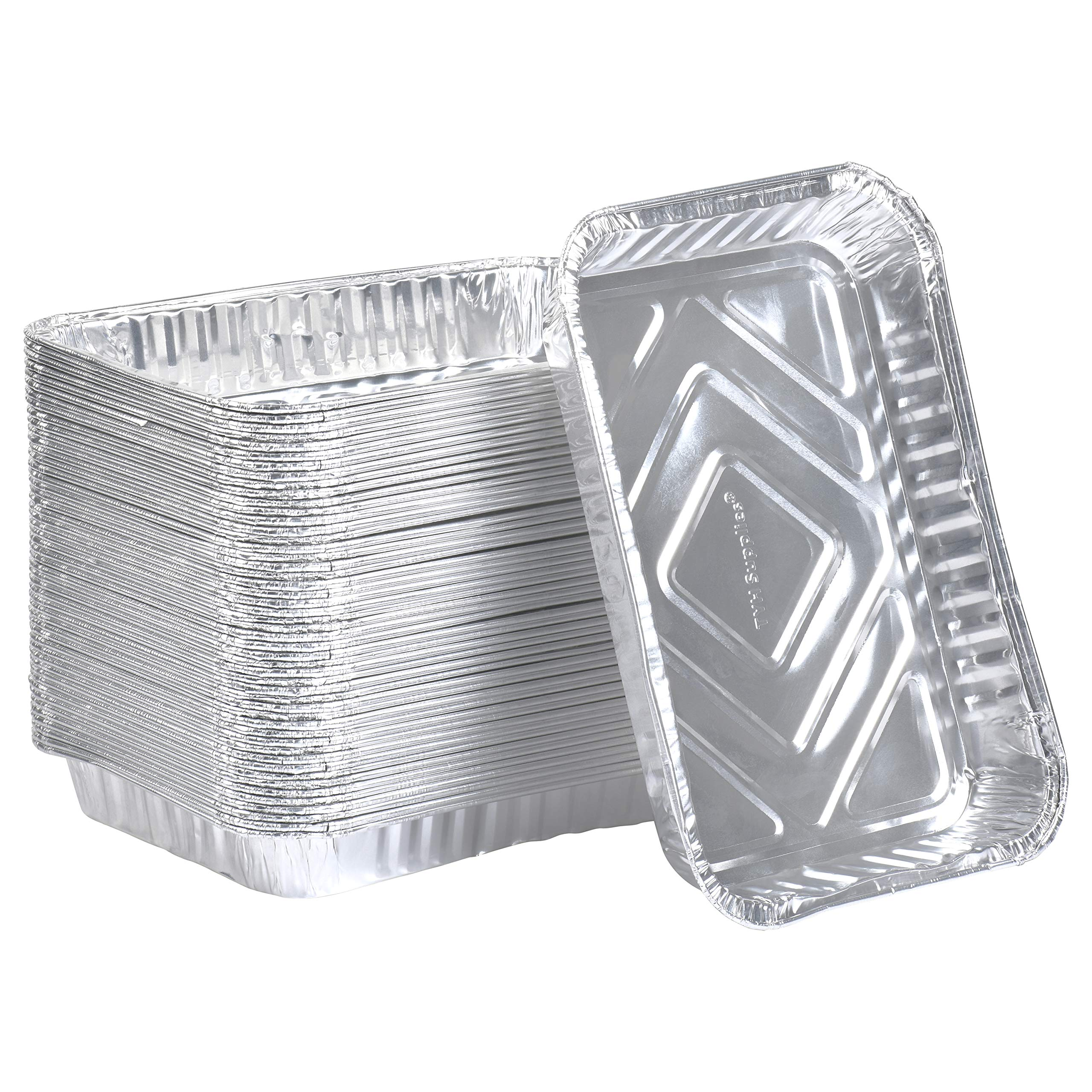 TYH Supplies 50-Pack Aluminum Foil BBQ Grease Drip Pans Compatible with Weber Grills Q, Pulse, Spirit, Spirit II, Genesis II LX 200 and 300 Series Gas Grill 7.5 x 5 Inch