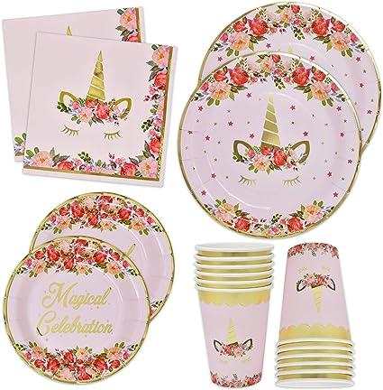 Amazon.com: Platos de unicornio, servilletas y tazas con ...