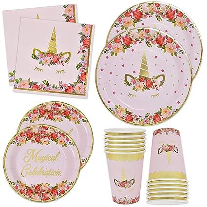 Amazon.com: Servilletas y vasos de unicornio con papel de ...