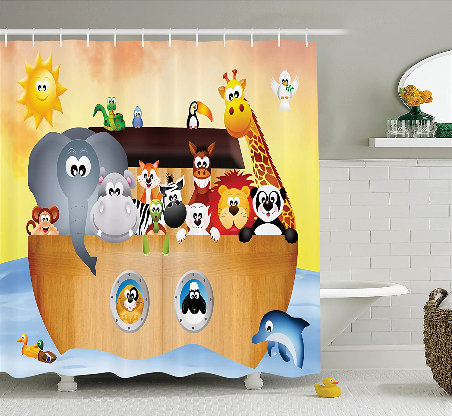 Noah's Ark Shower Curtain Set By Ambesonne, Cute Animals On The Ark Of Noah In The Sea Bible Mythical Lion Fun Graphic Print, Bathroom Accessories Decor, 69W X 70L Inches, Orange Blue and Brown