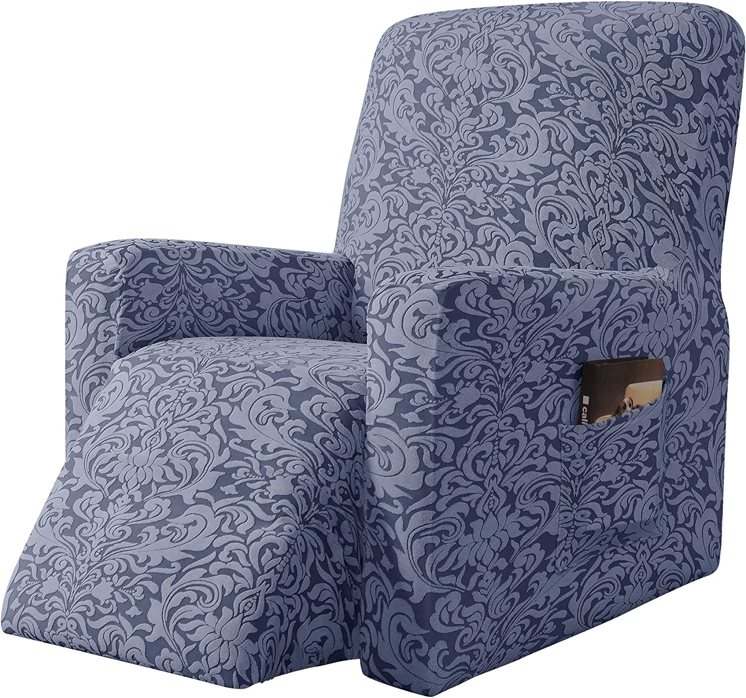 subrtex Stretch Rocking Recliner Silpcover Lazy Boy Chair Covers for Leather and Fabric Sofa with Side Pocket (Grayish Blue, Recliner)