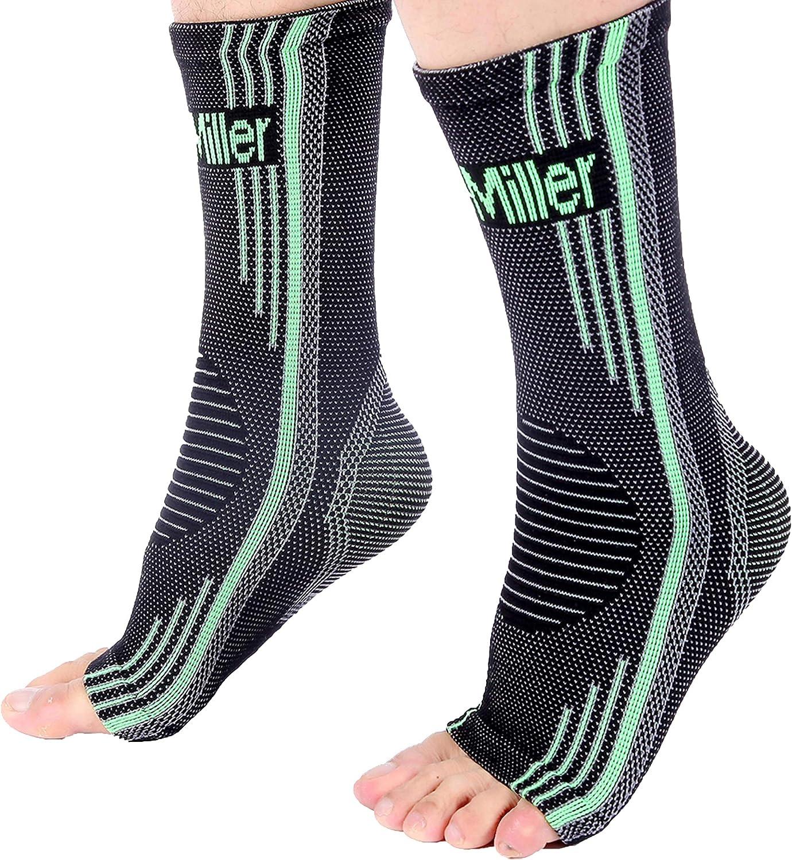 Doc Miller Ankle Brace Compression Sleeve 1 Pair Men Women Adjustable Support