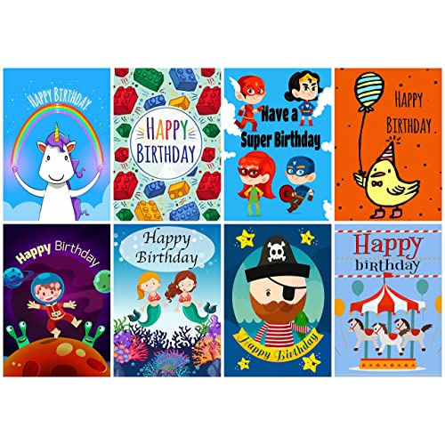 16 Assorted Childrens Birthday Cards Envelopes By Greetingles For Boys Girls 8 Designs