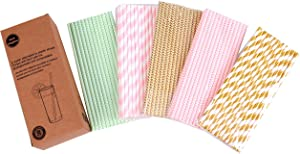 125 PCS Paper Straws Pink Gold Mint Green Stripe Chevron Wave Assorted Collection Drink Decoration - Boxed 5 Individual Pack