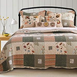 Greenland Home GL-1010GBSQ Sedona Quilt Set, 5-Piece Full/Queen, Gray