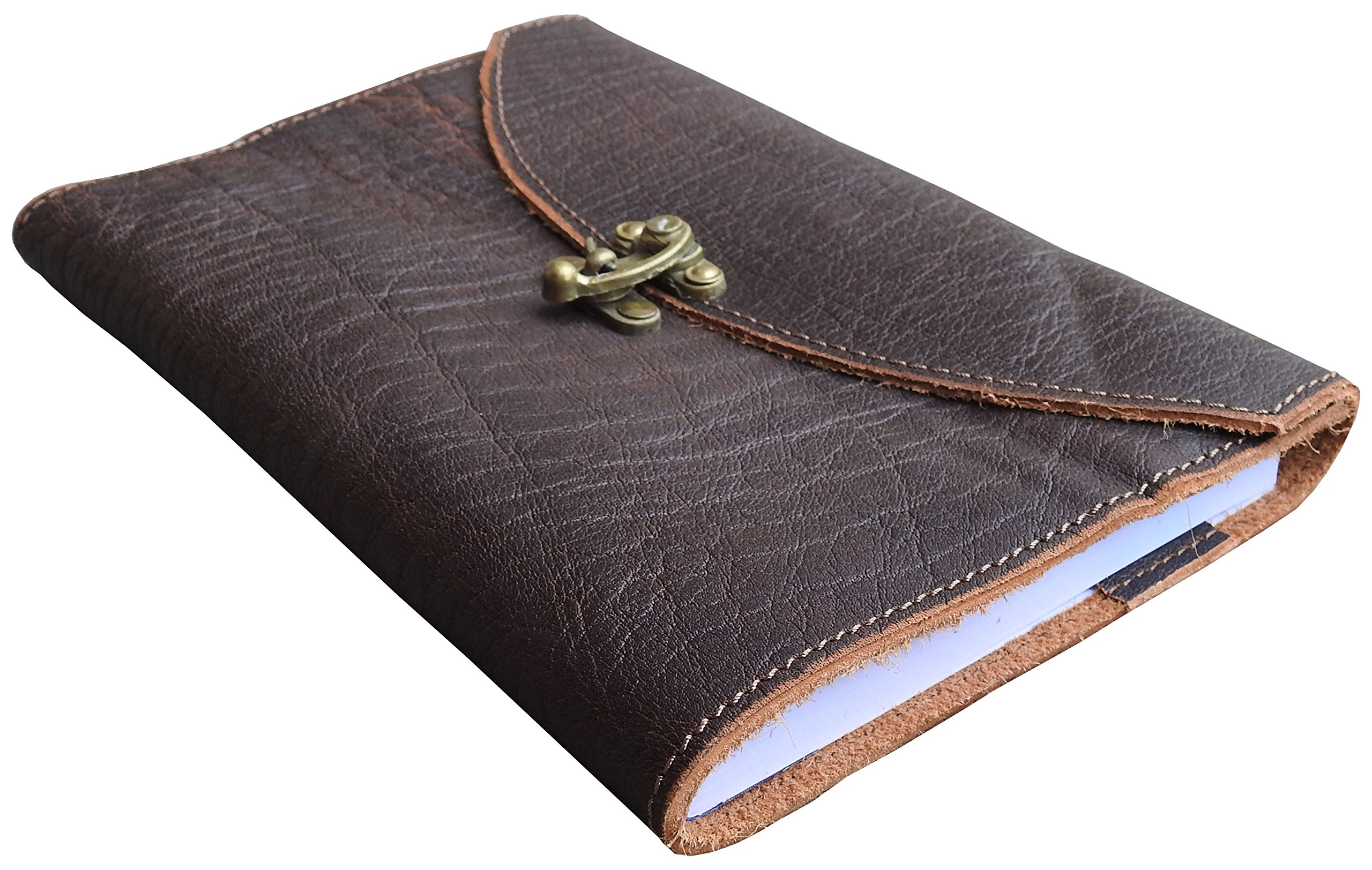 Large Refillable Handmade Leather Journal - 8'' X 5.75'' with C-lock closure (Antique Dark Brown)