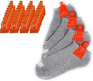 The Amazing Sock Clip Sock Holder, 32 Clips, Orange, Made in U.S.A.