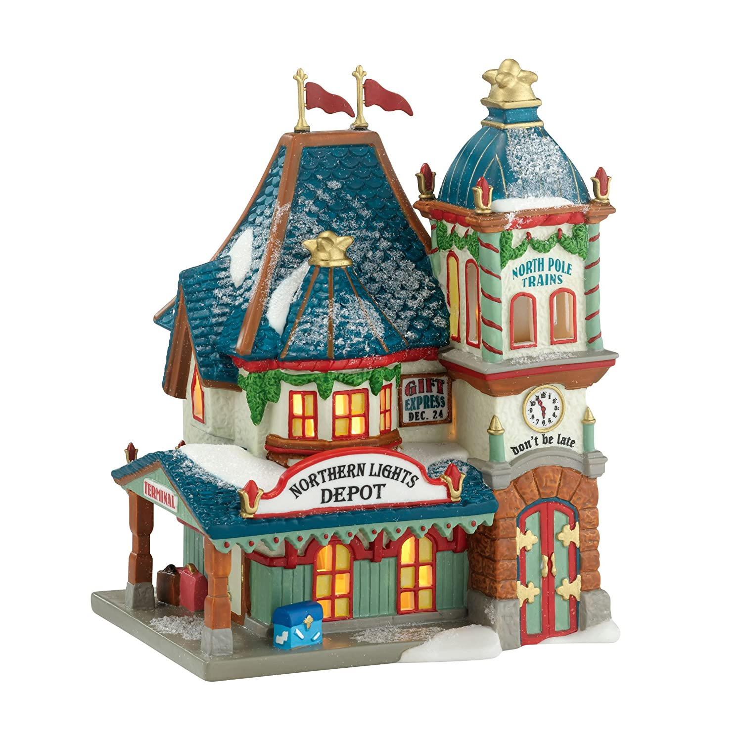 Department 56 North Pole Series Village Northern Lights Depot Lit House, 7.7-Inch 4030713