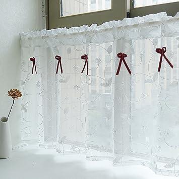 Yujiao Mao Amerikanisches Land Art Gestickten Gaze Vorhang Bistrogardine  Küchengardine Scheibengardine, BxH 90x90cm, Weiss