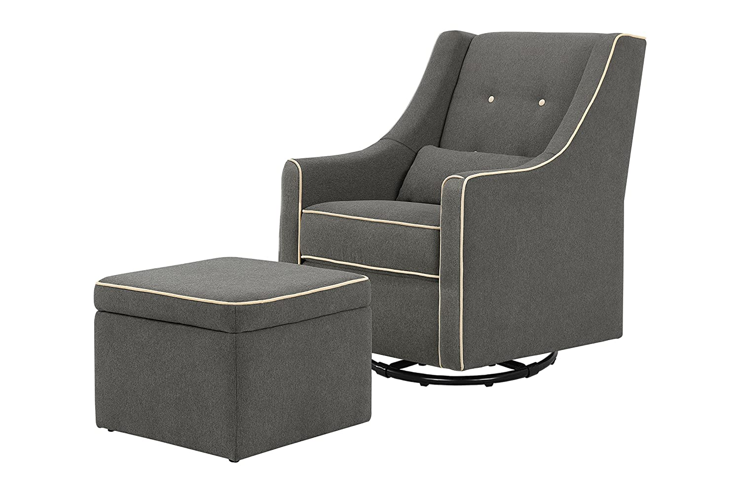Davinci Owen Glider and Ottoman, Dark Gray and Cream Piping DaVinci - DROPSHIP M13687GYCM