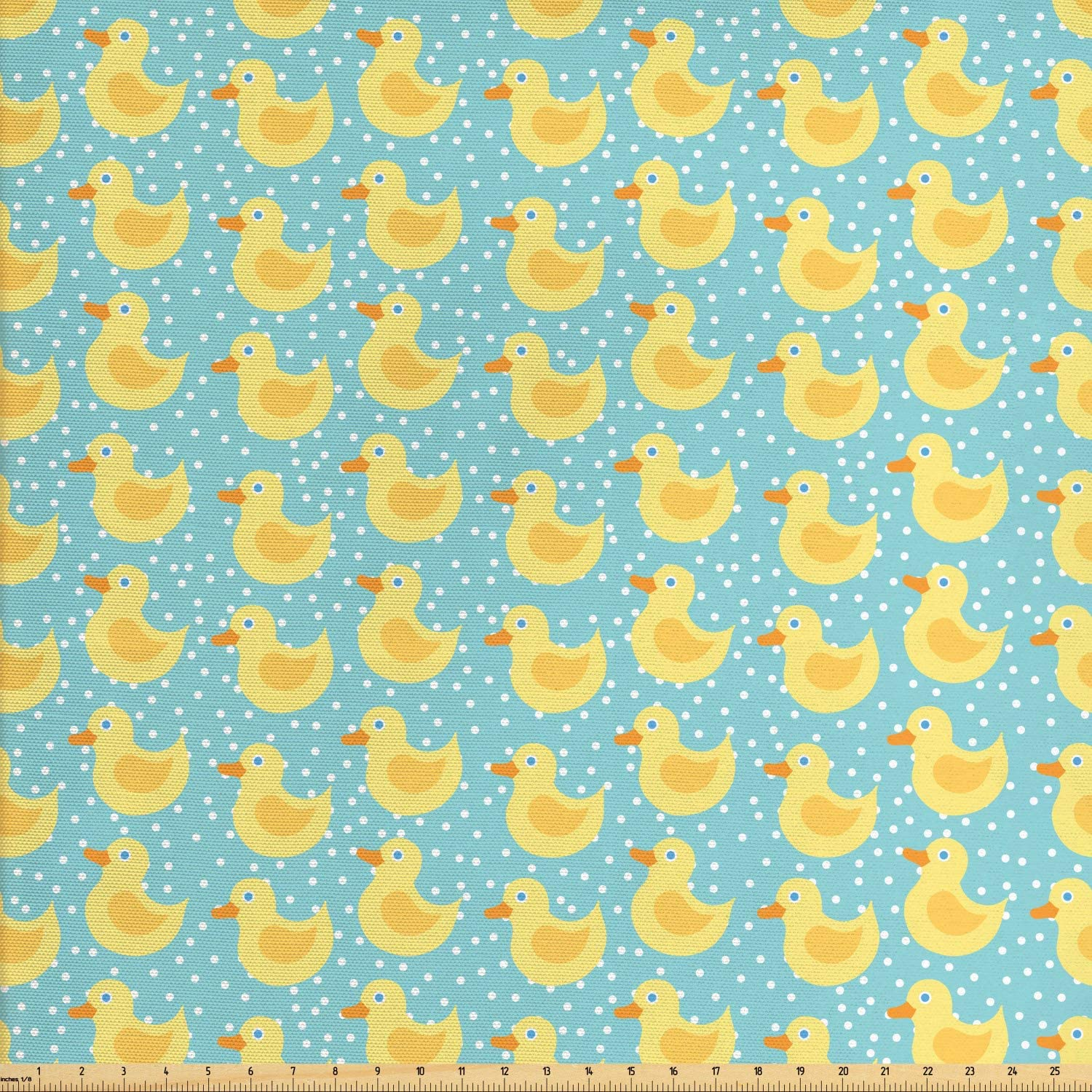 Lunarable Duckies Fabric by The Yard, Abstract Cartoon Style Illustration Blue Eyed Rubber Ducks with Dotted Background, Decorative Fabric for Upholstery and Home Accents, 1 Yard, Pastel Yellow