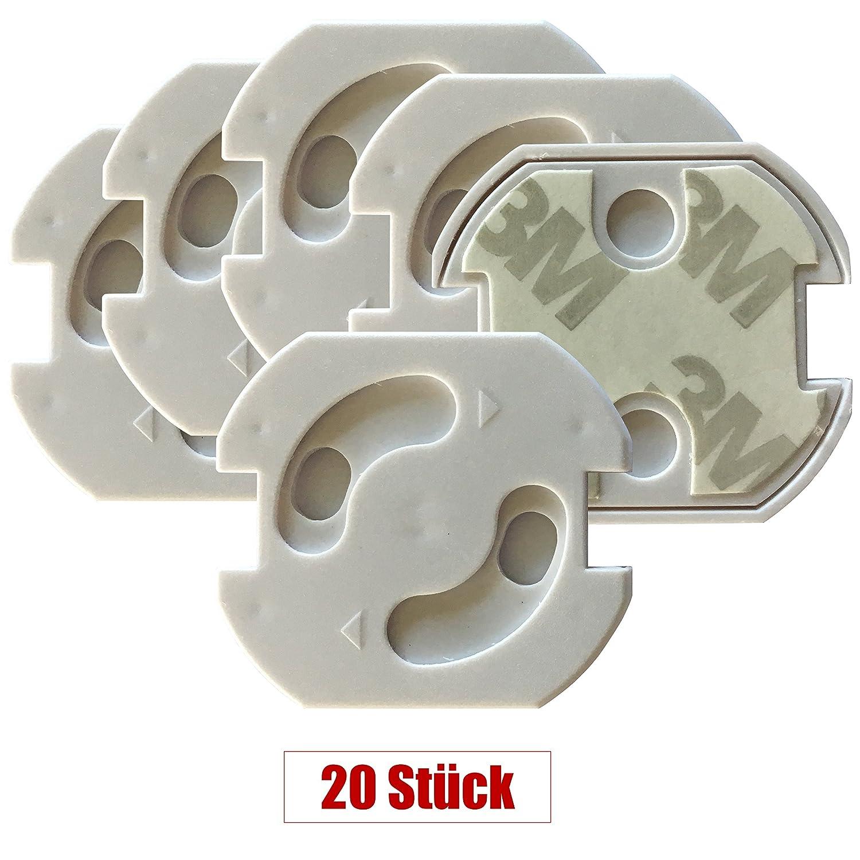 20 x Steckdosensicherung | Steckdosenschutz Baby Kleinkinder | Kindersicherung mit Drehmechanik | einfache Montage | 20 Stück weiß
