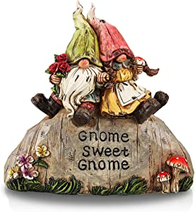 TERESA'S COLLECTIONS 8 inch Funny Gnome Garden Statues and Sculpture, Sweet Gnomes Couple on Stone Resin Garden Figurines Ornaments for Outdoor Lawn Yard Patio Porch Decoration