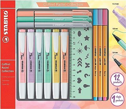 Stabilo f52064 Pastel Collection – Coffret combinada (13 piezas: 6 Swing Cool, 3 Point 88, 3 pointmax con 1 regla plantilla: Amazon.es: Oficina y papelería