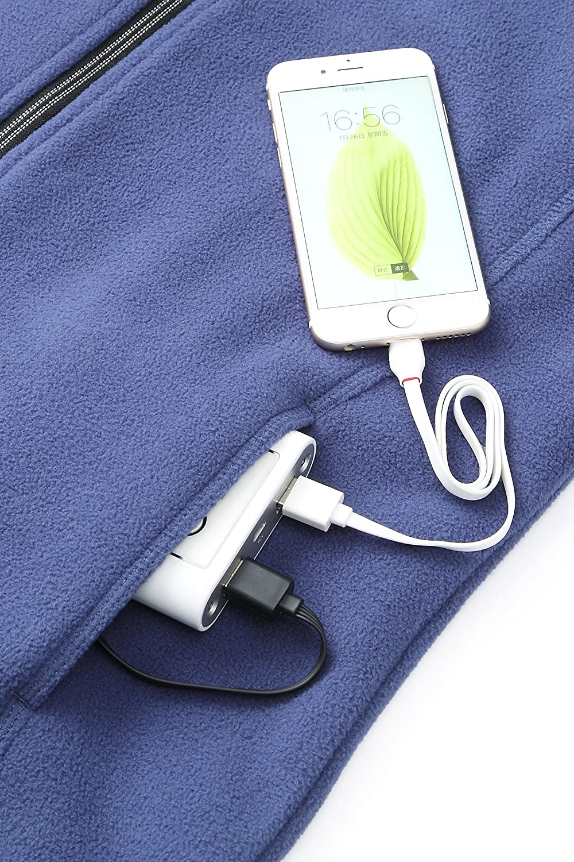 Power Bank PJ-06 Pau1Hami1ton Womens Sherpa Fuzzy Fleece Heated Jacket Full-Zip Use Your Own 5v//2a