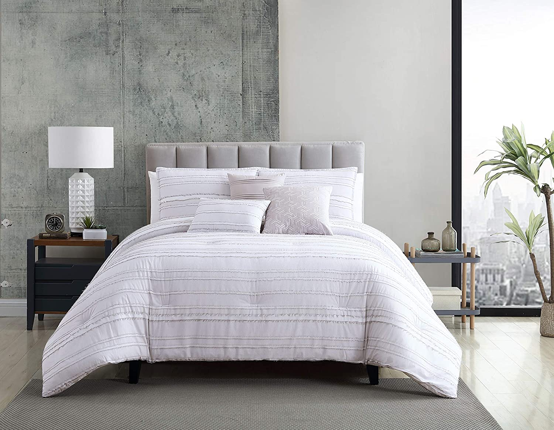 Riverbrook Home 6-Piece Comforter Set, King, Boston - White/Gray