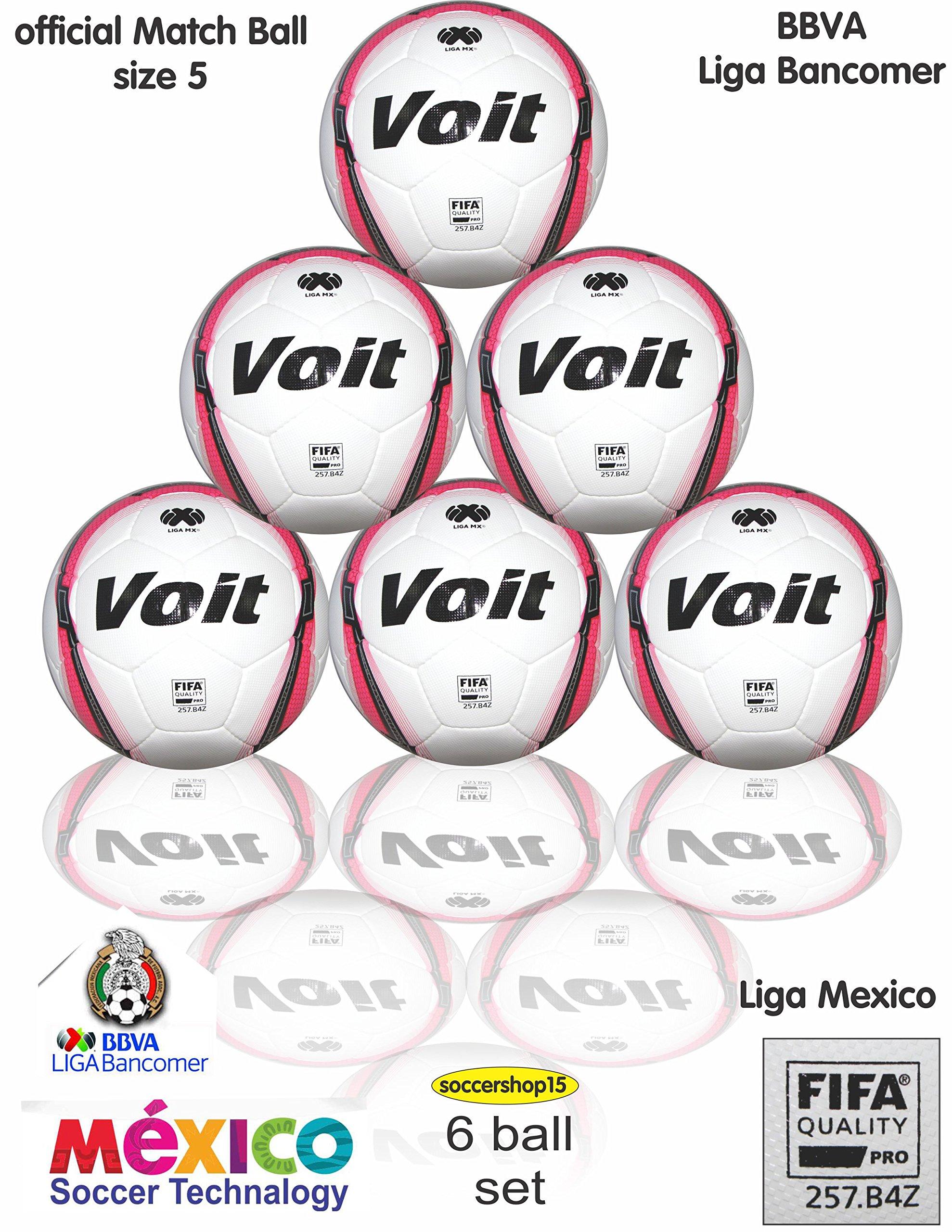 6 Voit official Match soccer ball set (size 5)
