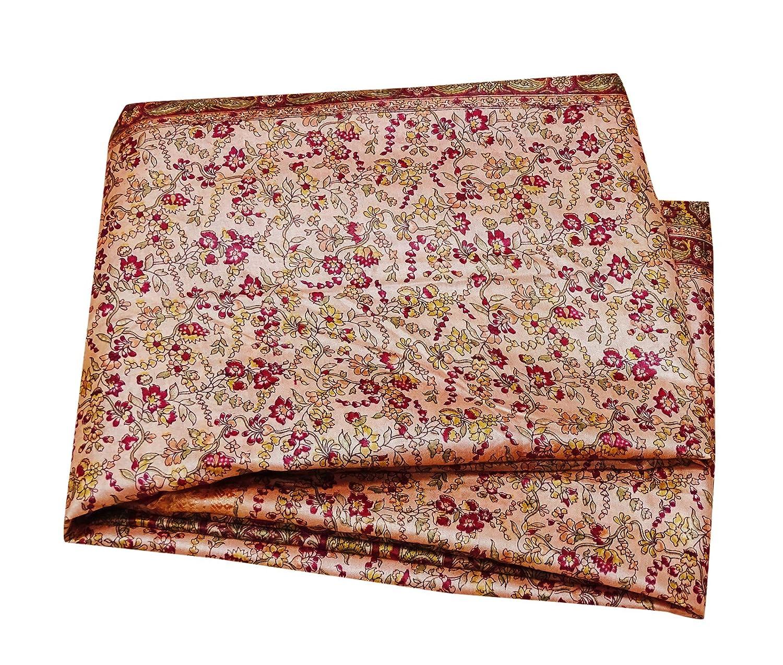 PEEGLI India Vendimia Impreso Saree Melocotón Mezcla De Seda DIY Utilizado Decoración del Hogar Tela Mujeres Sari: Amazon.es: Hogar
