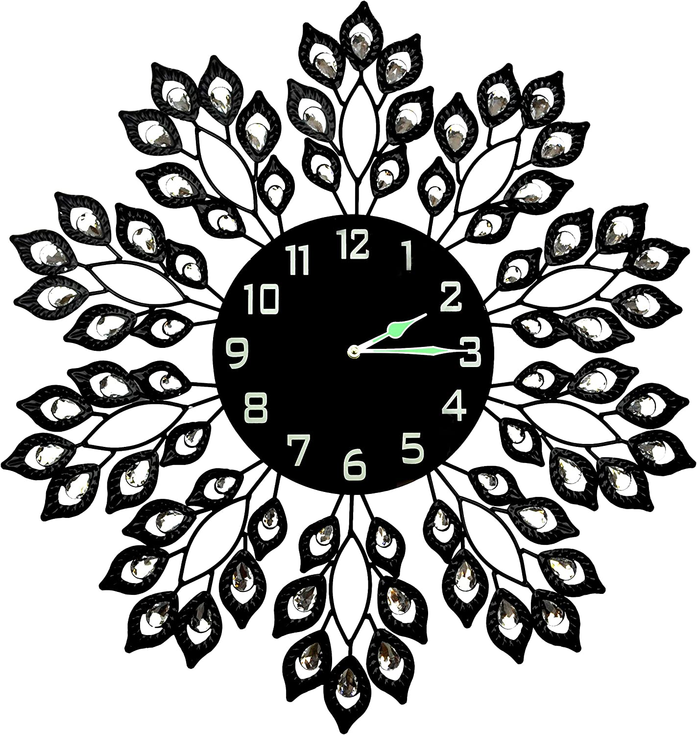 """LuLu Decor, 25"""" Black Leaf Metal Wall Clock, 9"""" Black Glass Dial with Arabic Numbers, Decorative Clock for Living Room, Bedroom, Office Space"""