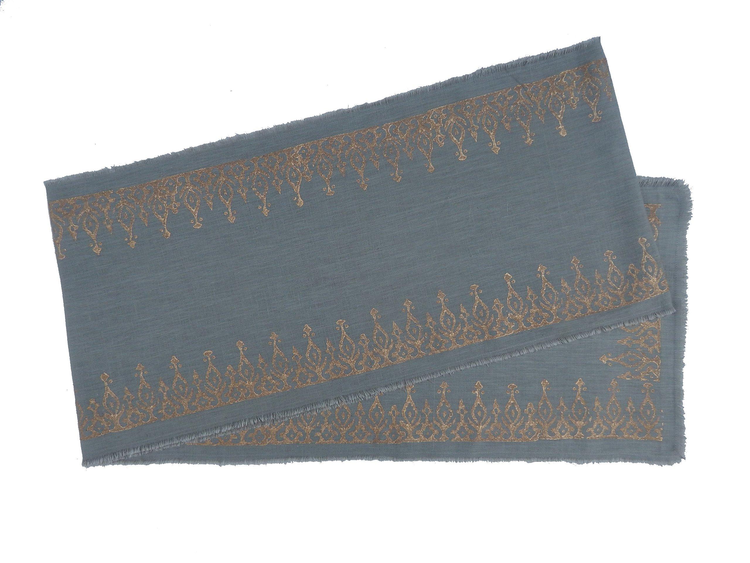 Gitika Goyal Home Cotton Khadi Gold Hand Block Printed 13x104 Runner Long Kangura Design, Grey